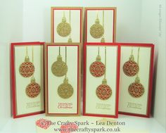 Embellished Ornaments Christmas Cards and Tags Gift Set Stampin Up UK Real Red and Kraft by Lea Denton, The Crafty Spark