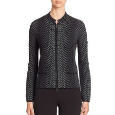 Armani Collezioni Reptile Knit Zip-Up Jacket (86.205 RUB) ❤ liked on Polyvore featuring outerwear, jackets, apparel & accessories, zip front jacket, armani collezioni, armani collezioni jacket, knit jacket and long sleeve jacket