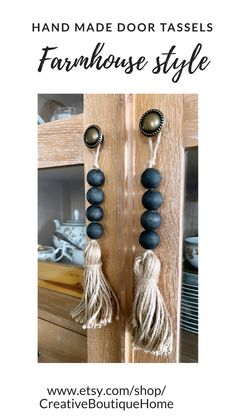 Farmhouse door knob tassels Hand made black wooden beads garlands for door knob hangers with jute tassels; wood beaded tassels to decorate kitchen cabinet or dining room shelves with rustic country style chic Wood Bead Garland, Beaded Garland, Home Crafts, Crafts To Make, Diy Crafts, Diy Hanger, Dining Room Shelves, Doorknob Hangers, Door Knobs