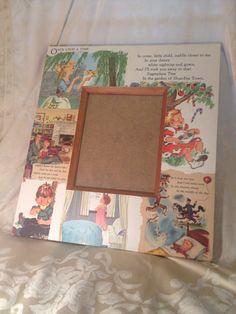 Vintage children's books repurposed frame by WelleDesigned on Etsy