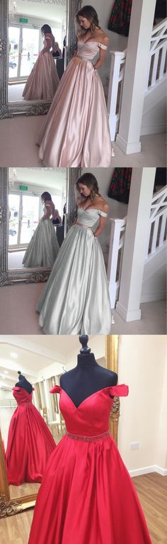 Blush Pink Prom Dresses,Ball Gown Prom Dresses,Long Prom Dresses,A Line Prom Dresses,Off the Shoulder beaded Prom Dresses,Cheap Evening Dresses with Pocket,Fashion Prom Dresses,Formal Women Dresses,Graduation Dresses,Blush Pink Graduation Dresses,Back V Evening Prom Gowns