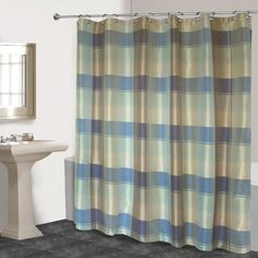 United Curtain Plaid Shower Curtain 70 by 72Inch BlueGreen * More info could be found at the image url.