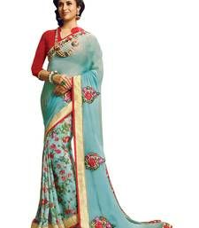 Buy multicolor printed fancy georgette Saree ethnic-saree online