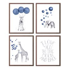 Navy Blue and Gray Nursery Decor Watercolor by TheDaisyFields