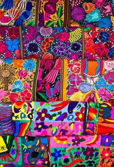 Mérida memory: Textiles Mexicanos I remember. It being able to narrow down just one so I got 2 GORGEOUS tejidos to bring home. Mexican Colors, Mexican Style, Mexican Textiles, Mexican Embroidery, Simple Embroidery, Folk Embroidery, Mexican Designs, Brazilian Embroidery, Mexican Folk Art