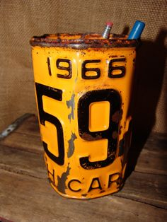 Vintage Antique Repurposed Yellow Rusted Rusty 1966 NC North Carolina License Plate Pen Pencil Holder, Desk, Office