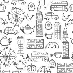 London Icons, London Art, Doodle Coloring, Coloring Pages, Doodle For Beginners, Doodle Images, Travel Doodles, London Drawing, Greyhound Art