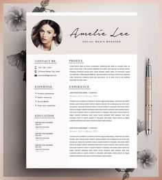 professional resume template cover letter for ms word modern cv design instant digital download a4 us letter buy one get one free - Downloadable Resume Template