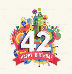 Happy Birthday seventy 70 year fun celebration greeting card with number, text label and colorful geometry design.