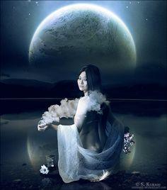 Moonlight Bath by Kechake on DeviantArt Moon Magic, China Dolls, Moon Art, Moon Child, Dark Hair, Moonlight, Old Things, Darth Vader, Bath