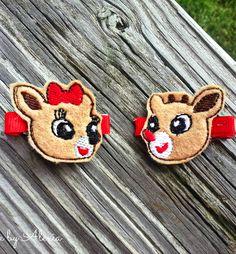 Rudolph & Clarice Reindeer Hair Clips