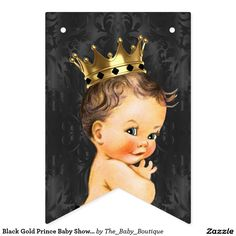 Black Gold Prince Baby Shower Bunting Flags