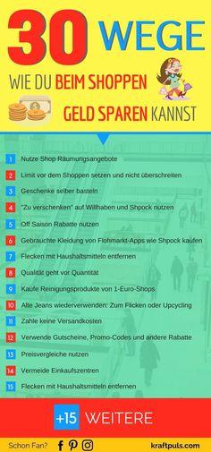 Geld sparen beim Shoppen? Hier 30 Tipps, beim Einkaufen weniger Geld auszugeben. #infografik #deutsch