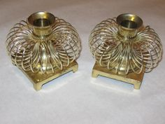 Vintage Pair Mid Century Modern Eames Era Solid Brass Spring Spiral Candleholders