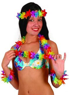 KIT FESTA HAWAIANA COLLANA FASCIA CAPELLI BRACCIALI Pop Star Fancy Dress, Fancy Dress Womens, 1950s Fancy Dress, Fancy Dress Outfits, Hula, Madonna Costume, Native American Teepee, Mary Poppins Fancy Dress, Grease Costumes