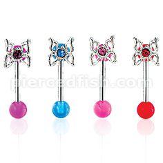 Pierced Fish Category > Body Jewelry > Curved Eyebrow Rings > BAK03::Eyebrow Barbell w/ Butterfly On UV Ball