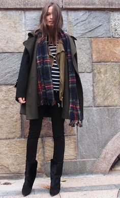 Inspiration for layering: black bottoms, striped top, then layer on the scarves, cardis', and coats.