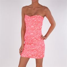 Eight Sixty Women's Contemporary Neon Brocade Dress #VonMaur #Neon #Pink #Lace