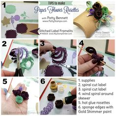 Directions: how to make paper flower rosettes for the Stampin' UP! Pillow Box with paper rosettes featuring the Detailed Leaves framelit dies and Shimmer Paint! Paper Rosettes, Paper Flowers, Card Making Supplies, Pillow Box, Ink Pads, How To Make Paper, Diy Craft Projects, Keepsake Boxes, Stampin Up Cards