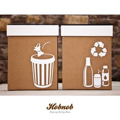 Hobnob Party Bins: Trash cans that add a touch of class to your holiday bash Pop Up, Cardboard Recycling Bins, Recycling Center, Garbage Can, Trash Bins, I Love Makeup, Party Time, Screen Printing, Place Card Holders