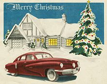 Tucker Corporation Christmas Card, 1947. The card illustrates the basic design of the 1948 Tucker, but with non-production trim.