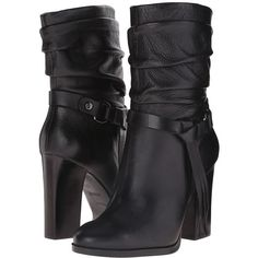 GUESS Tamsin Women's Pull-on Boots ($169) ❤ liked on Polyvore featuring shoes, boots, guess? boots, leather slouch boots, harness boots, leather shoes and slip on boots