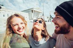 Austria, Vienna, three friends having fun in front of the parliament building Toxic Men, Getting Played, Three Friends, Still Image, Vienna, Austria, Have Fun, Stock Photos, Couple Photos