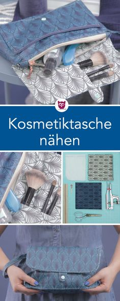aus dem : Kosmetiktasche nähen aus Wachstuc… from the : Sew cosmetic bag from oilcloth. The coated fabric of the toilet bag is water-repellent. The cosmetic bag has many compartments, a zipper, a loop. Sewing pattern instructions from DIY owl. Sewing Projects For Beginners, Knitting For Beginners, Knitting Projects, Fabric Crafts, Sewing Crafts, Sewing Hacks, Sewing Tutorials, Sewing Tips, Diy Sac