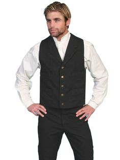 Scully Rangewear Mens Black 100% Cotton Canvas Western Vest