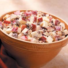 """Crunchy Apple Salad Recipe - My mother always called this """"Waldorf Salad"""" and it's a great side dish in the hot weather! I made this today.....despite my sore hands."""