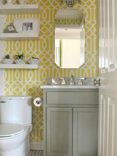 Fun yellow, white and gray powder room