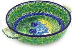 Polish Pottery 13-inch Round Baker with Handles | Boleslawiec Stoneware | Polmedia H3614F