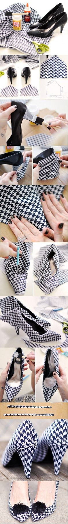 Houndstooth shoe makeover with pomp pomp, very cute.  Not sure I would have the patients to do it but they are adorable.