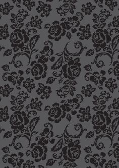 Black floral rose pattern on dark grey.  Print for scrapbooking, card-making, wrapping paper or crafts.