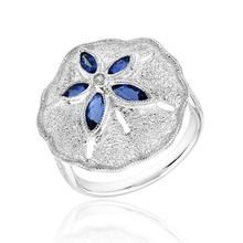 London Blue Topaz and Created White Sapphire Sand Dollar Ring