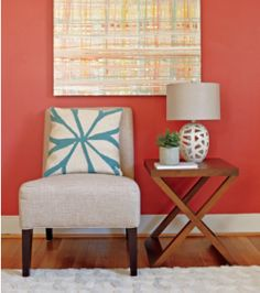 I like this color with the aqua and yellow accents. Not sure there is a space in my home for it, but juse in case... Benjamin Moore-Moroccan-Spice