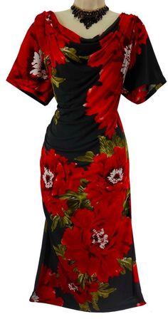 18W 2X SEXY Womens BLACK/RED FLORAL RUCHED DRESS Draped Summer Wedding PLUS SIZE #Dressbarn #Ruched #Versatile