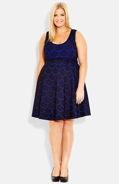 City Chic Lace Jacquard Fit & Flare Dress (Plus Size) at Nordstrom.com. A jacquard knit with a scalloped lace design boosts the flirt factor of a sleeveless dress fashioned with a fitted scoop-neck bodice, banded waist and swingy skirt.