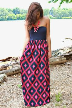 Adorable Strapless Black And Red Print Maxi Fashion