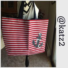 "Nautical-look Tote - NWOT Red/white/blue fabric tote. Striped front and solid navy back. 1 inside zippered pocket. Approx. 16"" H x 16"" W x 3 1/2"" D  Handle drop is 9"" Note: top is wider than the bottom. Approx. 22"" W at top narrowing to 16"" W at bottom  🚫 Trades 🚫 Holds Bags Totes"
