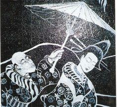 Casal, inspirado em pintura oriental, que pintei na parede de um banheiro do Studio Angela Conte. Sueli Pessoa - Plick Ateliê