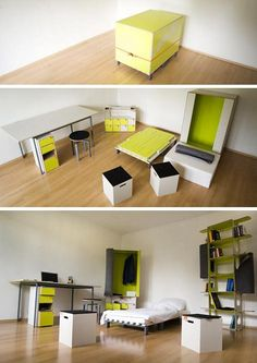 Casulo is a box with the base area of a euro-pallet, only high. Inside: a armoire, a desk. Tiny House Furniture, Smart Furniture, Space Saving Furniture, Furniture For Small Spaces, Home Furniture, Furniture Design, Furniture Ideas, Multipurpose Furniture, Multifunctional Furniture