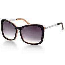 Óculos de Sol Retangular Feminino Acetato Preto e Salmão
