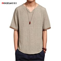 Mens Chinese Style Summer Linen Solid Color Short Sleeve T-shirt V-neck Top Tee is fashion and stylish, especially suitable to wear in summer, mens t shirt is on sale on NewChic Mobile. Casual Big And Tall, Style Japonais, Color Shorts, Summer Shirts, Shirt Style, Shirt Designs, Muslim, Sleeves, Mens Tops