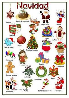 Spanish#Christmas#Vocabulary#learn#lesson#onlineTuition#Language4lifeSchoolBlackpool : https://es.islcollective.com/resources/printables/worksheets_doc_docx/navidad/navidad-principiante-prea1/62357