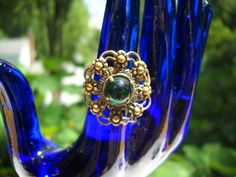 Vintage Ring West Germany Green Glass Cabochon Filigree Wire Work Metal Work Adjustable  Woodland Hippie Statement Ring Mid Century by FindCharlotte on Etsy