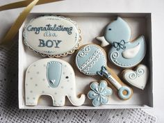 Congratulations It's A Boy Cookies Gift Box - Blue, Personalized & Perfect For Baby Shower Or Birth Celebration - 6 Pieces by Cookie-Art London on Gourmly Baby Boy Cookies, Baby Shower Cookies, Horse Baby Showers, Baby Boy Shower, Baby Shower Party Supplies, Baby Shower Parties, Personalized Baby Shower Gifts, Personalised Baby, Birth Celebration