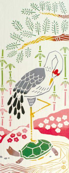 [気音間]注染手ぬぐい【縁起・開運・長寿】鶴は千年、亀は万年日本手拭い(てぬぐい)