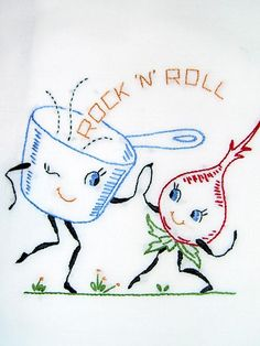ROCK 'N' ROLL - Hand embroidered flour sack tea towel with vintage embroidery design by Needle-n-Me