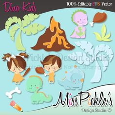 This super cute Dino Kids themed clip art set includes separate,  High Resolution 300 dpi JPG (white backgrounds) and PNG (transparent  background) file formats.